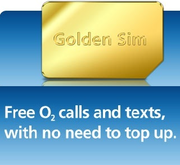 O2 Golden Sim Card Free O2 to O2 texts and calls
